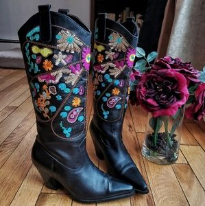 Embroidered Black Leather Cowboot Boots